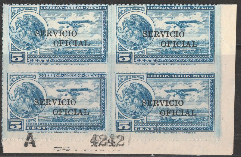 MEXICO CO25, 5¢ OFFICIAL AIR MAIL, BLOCK OF FOUR, MINT, NH. AVG-G.