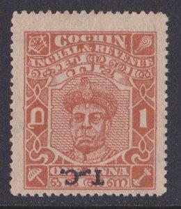 INDIAN STATES TRAVANCORE-COCHIN 1950 T-C Raja 1a orange ERROR INVERTED RARE!