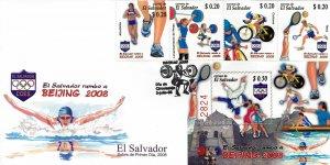 EL SALVADOR SUMMER OLYMPICS BEIJING Sc 1681-1682 FDC 2008