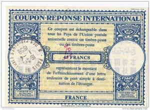 France IAS IRC Antwortschein Reply Coupon Reponse Int. 70 over 45 Francs Paris