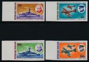 Togo 892-3, C240-1 imperf MNH Churchill, Warship, Aircraft, Tank
