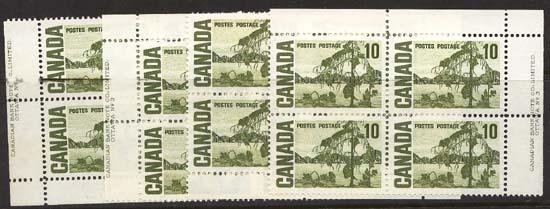 Canada USC #462iv Mint MS Plate 3 VF-NH Med. Fl., PVA 10c Jack Pine by Thompson