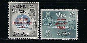ADEN SCOTT #63-64 1959 REVISED CONSTITUTION OVERPRINTS- MINT LIGHT HINGED