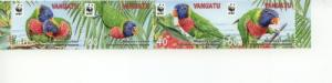 2011 Vanuatu WWF Rainbow Lorikeet Strip of 4 (Scott 1007) MNH
