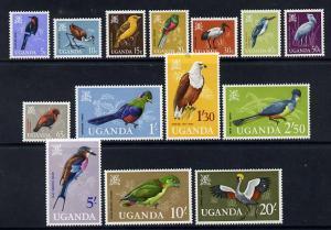 Uganda 1965  Birds definitive set complete - 14 values un...