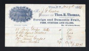 NEW YORK: Utica 1868 R. Thomas CAMEO Invoice FISH/OYSTERS