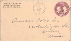 United States Texas Manor Rec'd. 1895 circular grid  Origin  2c Columbian Env...