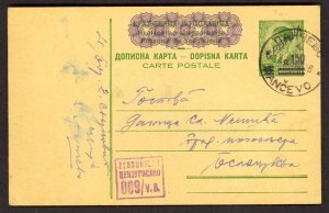 SERBIA GERMAN OCCUPATION 1942 1.50d on 1d Postal Card Mi P3 Censored PANCEVO