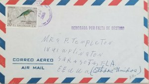 A) 1965, EL SALVADOR, BIRD, LETTER SHIPPED TO UNITED STATES, AIRMAIL, DELAY DUE