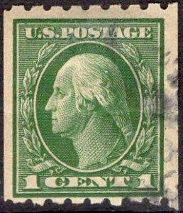 US Stamp #410 1c Washington Coil USED SCV $12.50