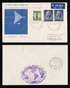 SYDNEY AUSTRALIA FIRST FLIGHT COVER FFC TO AMSTERDAM POLAR ROUTE 1955