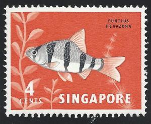 Singapore #54 4c Fish Tiger Barb MNH
