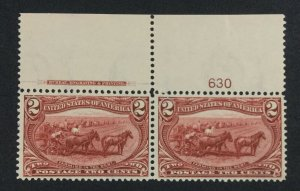 MOMEN: US STAMPS #286 PLATE IMPRINT PAIR MINT OG NH LOT #70984