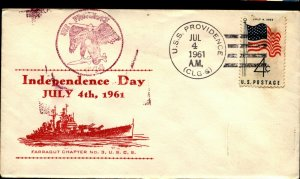 USS PROVIDENCE CLG-6 1961 US Cachet Naval Independence Day Cover Fancy Cancel F