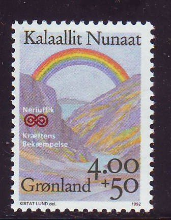 Greenland Sc B16 1992 cancer Research charity stamp mint NH