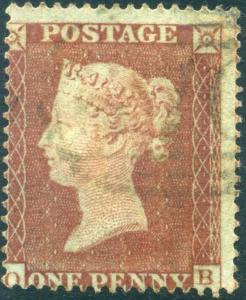 STATE II 1854 SG17 1d Red Plate 155 (OB) SG c£85.00