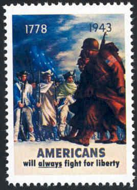 Patriotic WW2 Poster Stamp - Fight For Liberty - Cinderella