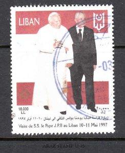 LEBANON- LIBAN USED SC# 533O O/P CROSS GOLD RARE - SALE TO A USA ADDRESS ONLY