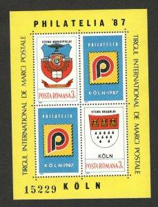 ROMANIA - MNH - BLOCK - Philatelic Exhibition , KELN GERMANY-1987.