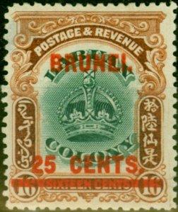 Brunei 1906 25c on 16c Green & Brown SG19 Average Mtd Mint