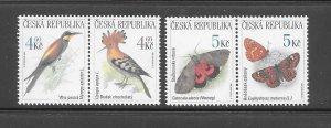 BIRDS - CZECHOSLOVAKIA #3082-5  BIRDS-BUTTERFLIES   MNH