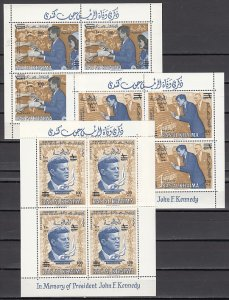 Ras al Khaima, Mi cat. 83-85, BL13-15 A. President Kennedy Revalued sheets. ^