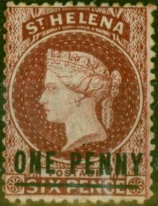 St Helena 1871 1d Lake SG8 Type C Fine Mtd Mint
