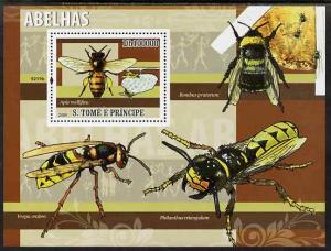 St Thomas & Prince Islands 2009 Bees perf s/sheet unmount...