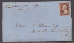 **US 19th Cent Rare Turned Cover SC# 11, Hallsboro, Va + Ballsville, VA, DPO's