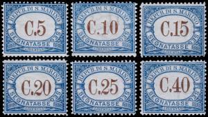 San Marino Scott J19-J23, J25 (1925-39) Mint LH VF, CV $14.00 B