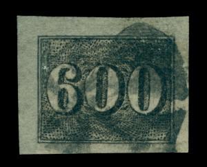 BRAZIL 1850  Numerals  600reis black  Sc# 28 used  XF-SUPERB stamp