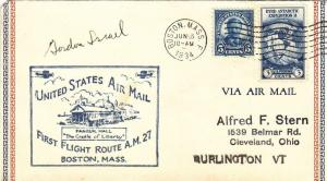1934, 1st Flt., AM-27, Boston, MA, Signed by Pilot, See Remark (23646)