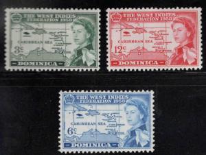 DOMINICA Scott 161-163 MH* 1958 West Indies Federation set