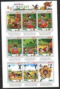 Mali. 1996. Small sheet 1640-48. Disney Cartoons. MNH.
