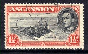 Ascension Island 1938 KGV1 1 1/2d Black & Vermilion used SG 40 ( R921 )