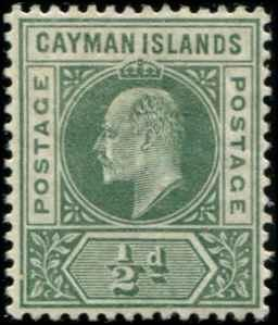 Cayman Islands SC# 3 SG# 3 Edward VII 1/2d MLH wmk 2