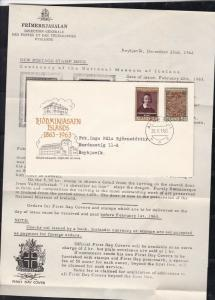 Iceland 1963 Akureyri Cancel Building Pic FDC Stamps Cover+Literature Ref26534