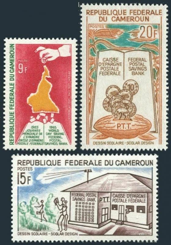 Cameroun 415-417,MNH.Michel 430-432. Federal Postal Saving Bank,1965.