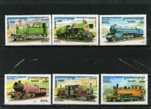 CAMBODIA 1996 Sc#1 507-1512 LOCOMOTIVES /TRAINS SET OF 6 STAMPS MNH