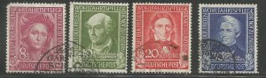 GERMANY  B310-B313  USED,  1949 ISSUE,  SURTAX FOR WELFARE ORGANIZATIONS