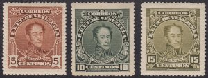Venezuela 1915-23 5c, 10c & 15c, perf 14 . VLM Mint. Scott 269c-274a, SG 373-75
