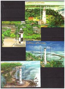 SRI LANKA 2018 Lighthouses 4 souvenir sheets with LOGO MNH