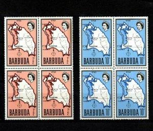 BARBUDA - 1968 - QE II - MAP - HIGHLANDS - PALMETTO POINT +++ 2 X MNH BLOCKS!