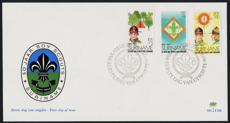 Surinam B208-10 on FDC - Scouts, Jamboree Emblem