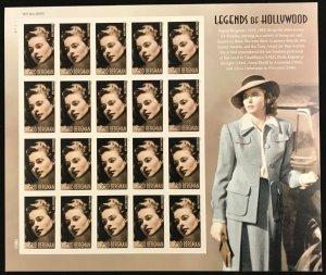 5012     Ingrid Bergman  Actress   MNH Forever sheet of 20     FV $11.00    2015