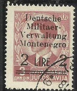 MONTENEGRO 1943 OCCUPAZIONE TEDESCA GERMAN OCCUPATION SOPRASTAMPATO SURCHARGE...