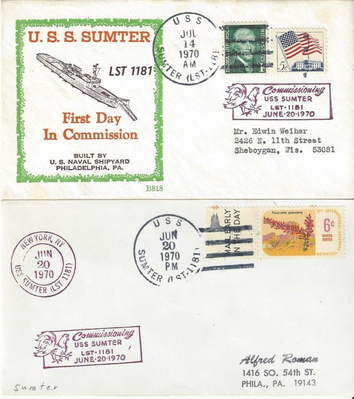 US Naval Cover USS Sumter  LST 1181  1970 Commissioned, 1970