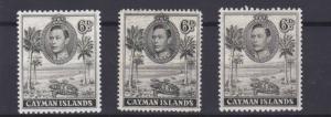 CAYMAN ISLANDS  1938 - 48    S G  122 - 122B    3 X 6D  VALUES   MH