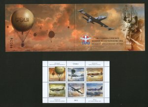SERBIA-MNH** BOOKLET-100 YEARS OF SERBIAN MILITARY AIR FORCE-PLANE-2012.