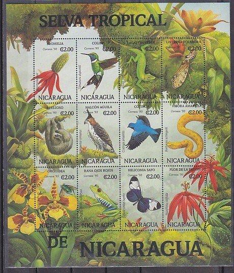Nicaragua, Scott cat. 1981 a-l. Tropical Fauna sheet. ^